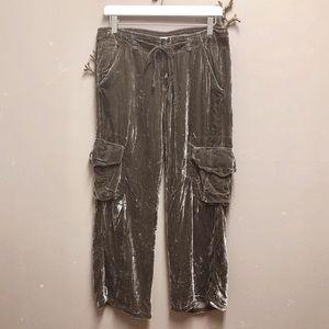 Johnny Was Brown Velvet Drawstring Cargo Pants